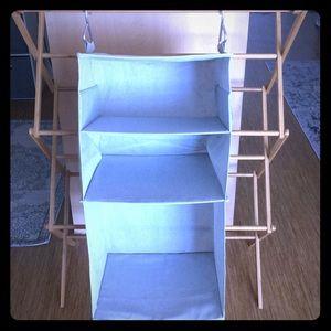 Three-section closet organizer in grey
